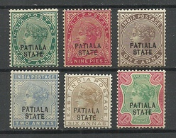 INDIA PATIALA 1891/96 = 6 Values From Set Michel 13 - 26 Service Dienstmarken * - Patiala
