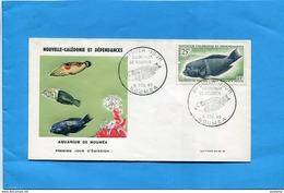 Nouvelle Calédonie-2 Enveloppes FDC-Illustrées -aquarium Cad 1967-stamp N°A82-83-Fish-poissons-corisangulata - Nouvelle-Calédonie
