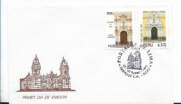 PERU 1995 Lima Cathedrals Architecture Buildings FDC First Day Cover Scott 1119-20 - Peru