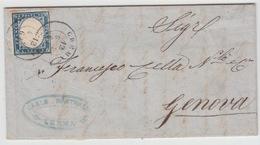 ITALIA USED COVER 1864 SASSONE 3 CREMA TO GENOVA - 1861-78 Vittorio Emanuele II