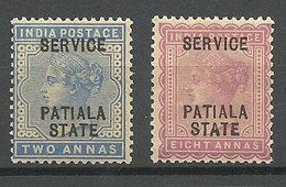 INDIA PATIALA 1898 Michel 10 & 14 Service Dienstmarken * - Patiala