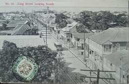 O) 1905 JAMAICA, LANDSCAPE - KING STREET LOOKING SOUTH, ARCHITECTURE, STAMP ARMS OF JAMAICA SC  33 1/2p POSTAL CARD XF - Postcards