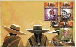PERU 2009 PERUVIAN HANDICRAFT FOLK ART 3 VALUES ON FIRST DAY COVER SCOTT 1689-91 - Perù