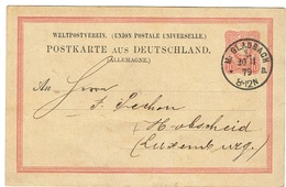 Ent-Postaux Env, Hobscheid 1879  Chez Peschon.M Glabbach. - Entiers Postaux