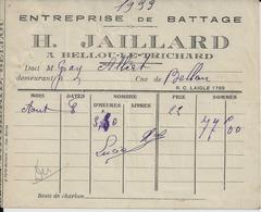 BELLOU LE TRICHARD H JAILLARD ENTREPRISE DE BATTAGE A MR GRAY ALBERT RECU - France