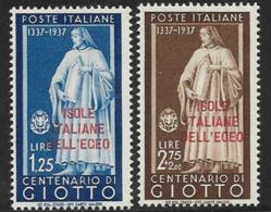 Italy Aegean Islands General Issue, Scott # 57-8 Mint Hinged Italy Stamps Of 1937 Overprinted, 1938 - Aegean (Autonomous Adm.)