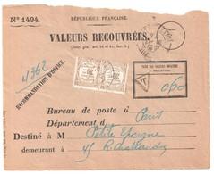 PARIS XIII DISTRIBUTION Ob 1924 Type 84 Devant Enveloppe 1494 Recouvrement Taxée Yv 45 X2 Préoblitéré Timbre à Date - Impuestos