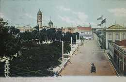 O) CUBA-CARIBBEAN,SPANISH ANTILLES, LANDSCAPE-ARCHITECTURE-CHURCH, CARRIAJE, CORNER OF COLON PARK-CARDENAS, POSTAL CARD - Cartoline