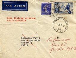 AVIATION 1ère Liaison Aérienne Paris-Grenoble 28.8.1936 - Le Bourget Port Aérien - Aviation