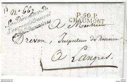 1824. LAC écrite De Chaumont (HAUTE MARNE) - Cachet P50P - Directeur Enregistrement Domaines - 1824 - Marcophilie (Lettres)