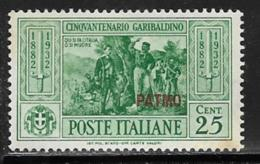 Italy Aegean Islands Patmo, Scott # 19 Mint Hinged  Italy Garibaldi Stamp Overprinted, 1932 - Aegean (Patmo)