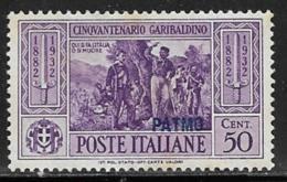 Italy Aegean Islands Patmo, Scott # 21 Mint Hinged  Italy Garibaldi Stamp Overprinted, 1932 - Aegean (Patmo)
