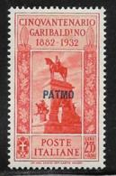 Italy Aegean Islands Patmo, Scott # 25 Mint Hinged  Italy Garibaldi Stamp Overprinted, 1932, Small Stain - Aegean (Patmo)