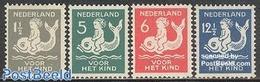 Netherlands 1929 Child Welfare 4v, (Unused (hinged)), Nature - Fish - Sea Mammals - Period 1891-1948 (Wilhelmina)