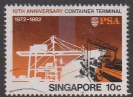 Singapore 435 1982 10th Anniversary Container Terminal 10c Yard Gantry Cranes, Used - Singapore (1959-...)