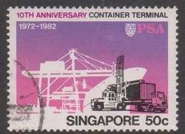 Singapore 437 1982 10th Anniversary Container Terminal 50c Freight Lifter, Used - Singapore (1959-...)