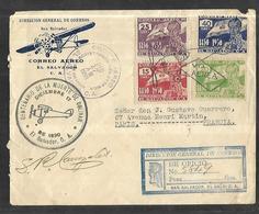 Salvador Poste Aérienne  Lettre Recommandée Du 17 12 1930   Pour Paris Via New York Et Miami  Cachet Arrivée - Salvador