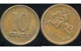 LITUANIE 10 Centu 1991 - Lituanie