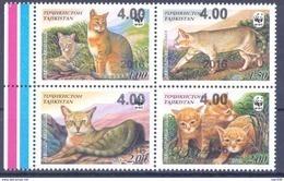 2016. Tajikistan, WWF, Wild Cat, OP On 4v Of 2002, Mint/** - Tadschikistan