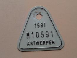 FIETSPLAAT 1991 : M10591 ( ANTWERPEN ) Zie Foto Voor Detail ! - Plaques D'immatriculation