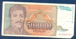 5,000,000 Dinara Yugoslavia 1993 - Jugoslavia