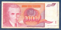 1000 Dinara Yugoslavia 1992 - Jugoslavia
