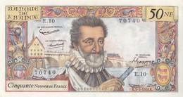 Billet 50 F Henri IV Du 5-3-1959 FAY 58.1 Alph. E.10 P/SPL - 1959-1966 Nouveaux Francs