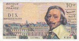 RARE ! Billet 10 F Richelieu Du 4-1-1963 FAY 57.22 Alph. N.253 DERNIERE DATE SPL - 1959-1966 Nouveaux Francs