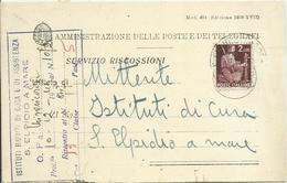 DE167-Avviso Di Ricevimento Con 2 £ Democratica 03.10.1945 - Bello - 5. 1944-46 Luogotenenza & Umberto II