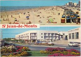 Saint-Jean-de-Monts: FIAT 850 SPORT COUPÉ, CITROËN DYANE, 2CV, SIMCA 1500, ARONDE  - Plage Et Boulevard Du Front Du Mer - Toerisme
