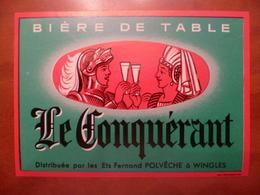 étiquette Ancienne Brasserie  FERNAND POLVECHE A WINGLES  Le Conquérant - Bière