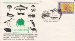 India  1992  Animals  Reptiles  Birds  Insects  Environmental Protection  ND  Special Cover  #  15812  D  Inde Indien - Environment & Climate Protection