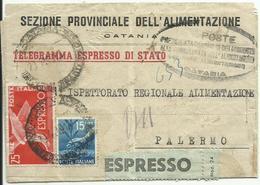 R.C.219-Telegramma Espresso Di Stato Sola Tassa Espressa Con Democratica 29.11.1949 - 6. 1946-.. Republik