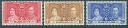 BARBADOS - MNH/**. - 1937 - CORONATION - Yv 164-166 -  Lot 18394 - Barbades (...-1966)