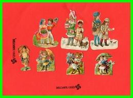 Sept Chromos Découpis Gauffrés - Enfants (recto Verso) - Enfants