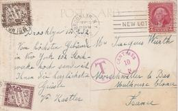 Etats Unis Carte Postale Taxée En France 1932 - Vereinigte Staaten