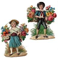 Grande CHROMO Découpis Gaufrée Enfants Fille Garçon Fleurs 19ème (2 Chromos) - Enfants