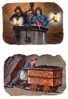 Grande CHROMO Découpis Gaufrée Enfants Adultes Mine Mineurs Wagonnet Pic Lampe 19ème (2 Chromos) - Enfants