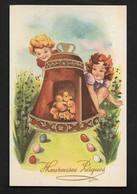 Joyeuses Pâques Enfant Fillette Poussins Cloche Avec Dorure Oeufs Carte Postale Ancienne CPSM Editions M.D. - Pâques