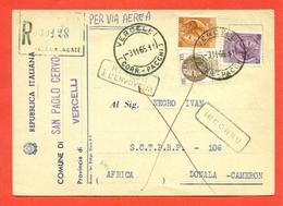 STORIA POSTALE PER L'ESTERO-CARTOLINA ELETTORALE RACCOMANDATA AEREA-DA  SAN PAOLO CERVO PER IL CAMERUN-SIRACUSANA - 6. 1946-.. Republic
