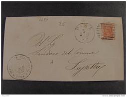 """4479 ITALIA Regno-1877- """"Effigie V. E. II"""" C. 20 PISA>SASSETTA (descrizione) - 1861-78 Vittorio Emanuele II"""