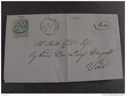 """4460 ITALIA Regno-1863- """"Effigie V. E. II"""" C. 15 PERUGIA>TODI (descrizione) - Marcophilie"""