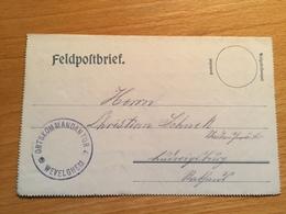 Feldpost 1. WK ORTSKOMMANDANTUR  WEVELGHEM  1916 - Allemagne