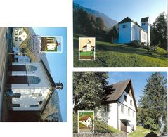 Liechtenstein 2001: Bauwerke In Mauren & Schaanwald Zu 1211-13 Mi 1268-70 Yv 1209-11 Auf MK-Set 194 (Zu CHF 7.50) - Eglises Et Cathédrales