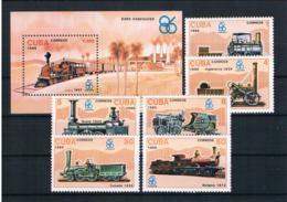 Kuba 1986 Eisenbahn Mi.Nr. 3017/22 Kpl. Satz + Block 95 ** - Kuba