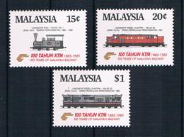 Malaysia 1985 Eisenbahn Mi.Nr. 304/06 Kpl. Satz ** - Malaysia (1964-...)