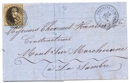 1863 BRIEF VAN FONTAINE=L'EVEQUE NAAR MONT SUR MARCHIENNE AANKOMSTEMPEL CHARLEROI MET COB 10 ZIE SCAN(S) - 1858-1862 Medallions (9/12)