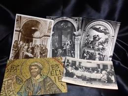 5 Postales De Tema Religioso - Pinturas, Vidrieras Y Estatuas