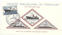 76  Voyage Inaugural 3 Fevrier 1962 Compagnie Générale édité Par La Société Philatélique Havraise - Paquebots