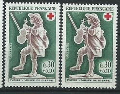 [25] Variété :   N° 1541 Croix-rouge 1967 Personnage Pâle Au Lieu De Vif + Normal ** - Varieties: 1960-69 Mint/hinged